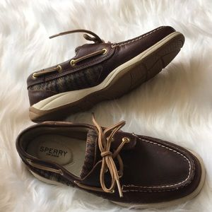 Sperry | plaid dark brown loader boat shoe fall